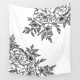 Floral - Black & White Wall Tapestry