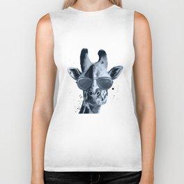 Giraffe Blue Black White Biker Tank