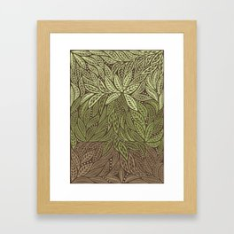 Polynesian Tribal Tattoo Shades Of Green Floral Design Framed Art Print