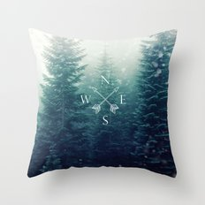 Arrow Compass in the Winter Woods Throw Pillow