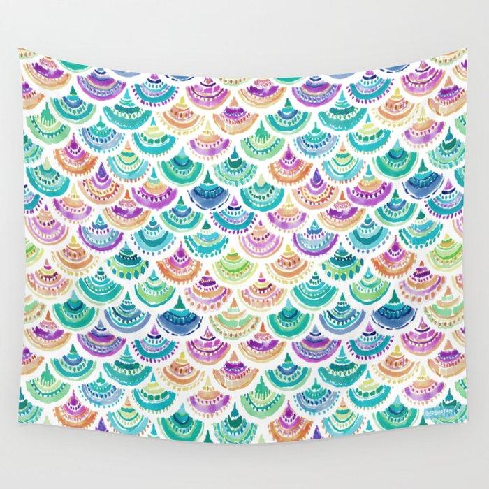 RAINBOW MERMACITA Colorful Mermaid Scales Wall Tapestry