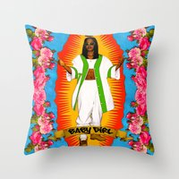aaliyah Throw Pillows featuring Lady Aaliyah by Samantha Marie