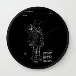 NASA Space Suit Patent - White on Black Wall Clock