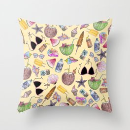 Summer Cute Girly Beach Collage on Yellow Throw Pillow