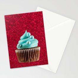 Cupcake Love | Aqua Swirl on Red Sparkle Stationery Cards