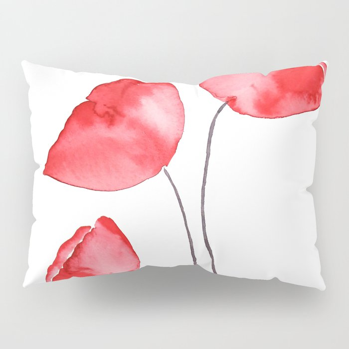 3 red poppies watercolor Pillow Sham