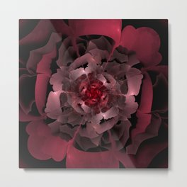 Abloom in Lusciously Crimson-Red Petals of a Rose Metal Print