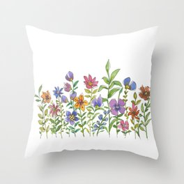 A colorful flower garden Throw Pillow