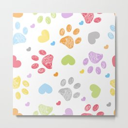 Doodle colorful paw prints with hearts seamless fabric design pattern vector Metal Print