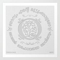 Joshua 24:15 - (Letterpress) Monogram Q Art Print