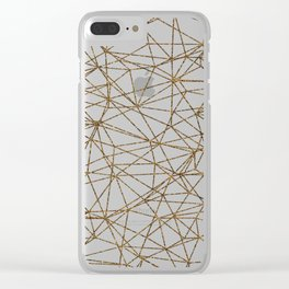 Geometric triangles glitter pattern. Modern stylish texture. Gold trendy glitter print background Clear iPhone Case