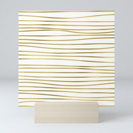 Small simply uneven luxury gold glitter stripes on clear white - horizontal pattern Mini Art Print