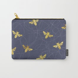 Flying Gold Bees On A Dark Blue Background Carry-All Pouch