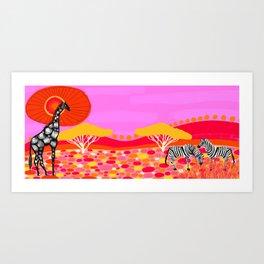 Sunset in Botswana Art Print