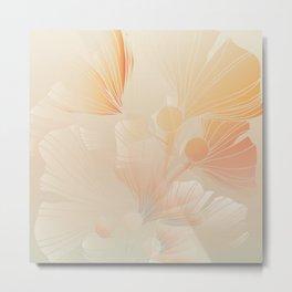 Gingko Biloba Botanical Abstract Graphic Art Rust Gradient Metal Print