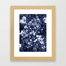 Bohemian Floral Nights in Navy Framed Art Print
