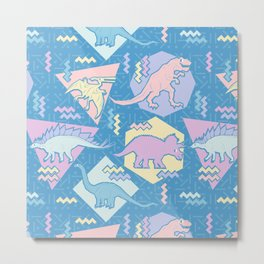 Nineties Dinosaurs Pattern  - Pastel version Metal Print