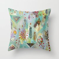 "flora bowley Throw Pillows featuring ""Liminal Rights"" Original Painting by Flora Bowley by Flora Bowley"