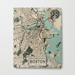 Boston City Map of the United States - Vintage Metal Print