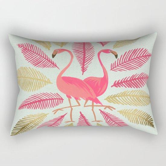 Flamingos – Pink & Gold Rectangular Pillow