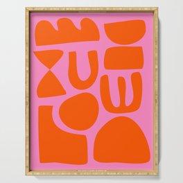Orange Shapes on Pink Serving Tray