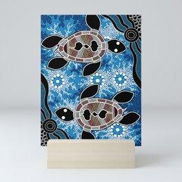 Authentic Aboriginal Art - Sea Turtles Mini Art Print