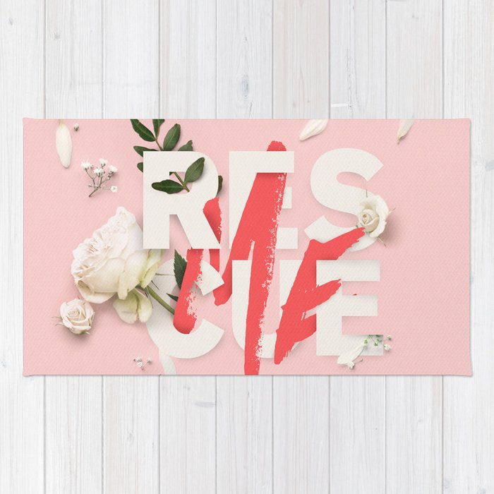 RESCUE ME | Digital typography floral poster pink Rug