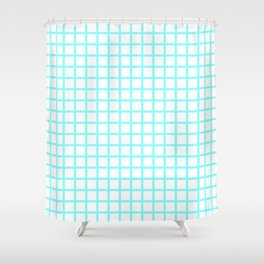 Grid (Aqua & White Pattern) Shower Curtain