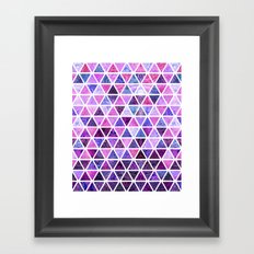 Berry Purples - Triangle Patchwork Pattern Framed Art Print