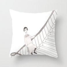 girl on a stair Throw Pillow