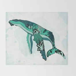 Coral Reef Humpback Whale Throw Blanket