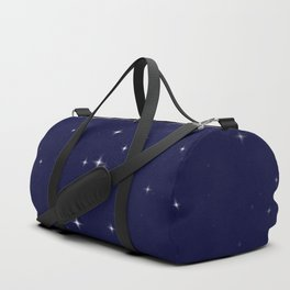Modern navy blue white starry sky stars pattern Duffle Bag