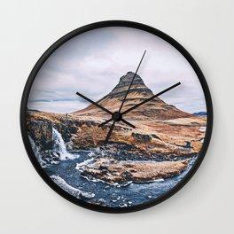 Kirkjufellsfoss Kirkjufell Mount autumn icelandic landmarks cliffs HDR Grundarfjordur Iceland Europe Wall Clock