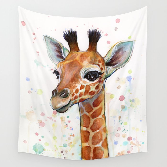 Giraffe Baby Watercolor Wall Tapestry By Olechka Society6