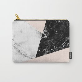 Black white marble blush pink color block Carry-All Pouch
