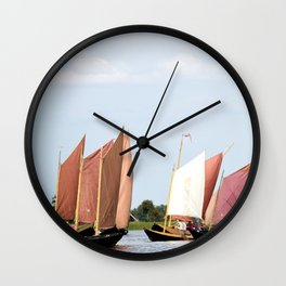 Summer sailing on Dutch Frisian lake Wall Clock