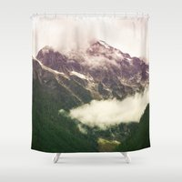 the mountains are calling Shower Curtains featuring The Mountains Are Calling by Noonday Design