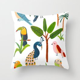 Jungle Birds Species Throw Pillow