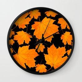 Orange Maple Leaves Black Background #decor #society6 #buyart Wall Clock