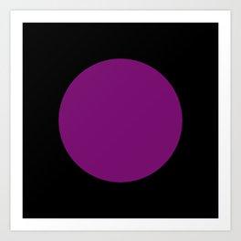 Bright Purple Circle ... Black Background Art Print