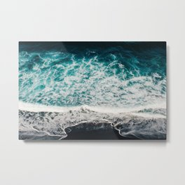 Black sand beach aerial - landscape photography - ocean wave Metal Print