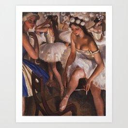 Ballerina & Ballerinas In The Dressing Room oil on canvas portrait painting by Zinaida Serebriakova Art Print