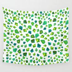 Green beautiful hand drawn gems. Wall Tapestry