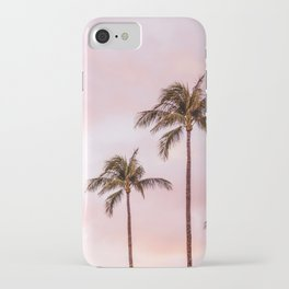 Palm Tree Photography Landscape Sunset Unicorn Clouds Blush Millennial Pink iPhone Case