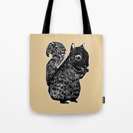 Black Squirrel Printmaking Art Tote Bag