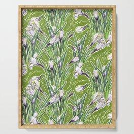 Crocuses Garden Flowers Botanical Floral Pattern Chartreuse  Serving Tray