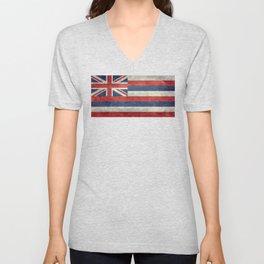 Hawaiian Flag in Vintage Retro Style Unisex V-Neck