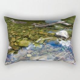 Ducks In The Rocky River Rectangular Pillow