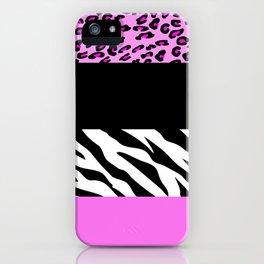 Animal Print, Zebra Stripes, Leopard Spots - Pink iPhone Case