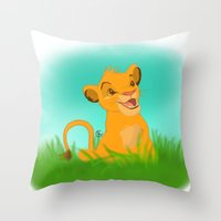 simba Throw Pillows featuring Simba by Rachelmel1